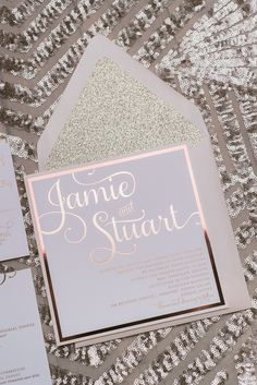 ADELE Suite Fancy Glitter Package, rose gold foil, rose gold glitter, square wedding invitation