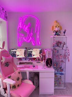 Cute Room Ideas, Cute Room Decor, Girl Bedroom Designs, Room Ideas Bedroom, Gaming Room Setup, Pc Setup, Kawaii Bedroom, Otaku Room, Game Room Design