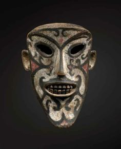 * Borneo Masterpiece Ritual Mask, Iban Dayak wood, pigment, 19th century