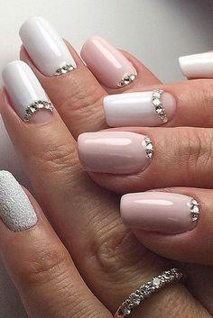 The Best Wedding Nail 2020 Trends #nail #nailart #weddingnail #naildesign White Nail Designs, Simple Nail Designs, Nail Art Designs, Acrylic Nail Designs, Spring Nail Art, Summer Acrylic Nails, Summer Nails, Wedding Manicure, Bridal Nails