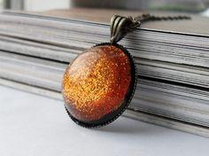 Tangerine glitter resin necklace