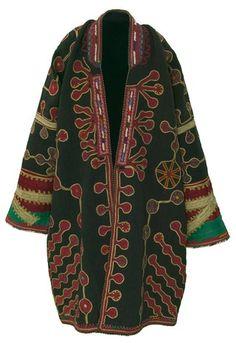 Object Name: Coat  Place Made: Asia: Central Asia, Afghanistan  People: Mangal Pashtun  Period: Mid 20th century  Date: c 1950  Dimensions: L 104 cm x W 156 cm  Materials: Wool; glass bead; Synthetic; metal thread  Techniques: Plain woven; appliquéd; embroidered; beaded; velvet; velvet