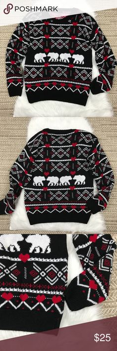 """Polar Bear and Heart Sweater Miss London Polar Bear and Heart print sweater. Cute for Winter and holidays. Black, white, and red. Acrylic. Note there is no size tag. Fits like a medium to small. Check measurements. A12  Underarm to underarm 20"""" Length 26"""" Missi London Sweaters"""