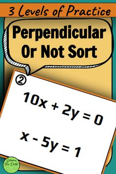 Perpendicular or Not Card Sort Math Teacher, Math Classroom, Parallel And Perpendicular Lines, Middle School, High School, Linear Function, 8th Grade Math, Algebra, Math Activities