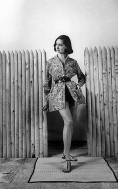 Model is wearing a bandana print beach jacket by Kenn Barr, photo by Nina Leen, March 1956