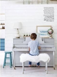 Paris Grey Chalk Paint:registered: for the piano with the fun little stool painted in Provence | Style at Home magazine