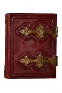 dark red antique book, with golden clasp and pages ...