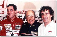 Soichiro Honda- founder of Honda Motor Co. With Senna and Prost! Alain Prost, Formula 1, Honda Motorsports, Japanese Inventions, Soichiro Honda, Gerhard Berger, Band On The Run, F1 Drivers, Important People