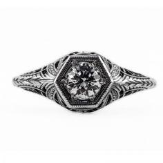 Vintage Engagement Filigree Ring | Gold Silver Platinum | .47ct 5mm round stone