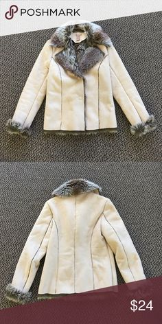 NWOT Adorable Faux Suede Jacket NWOT Never worn, faux suede and faux fur jacket. Impulse buy a few years back and have not ever found an outfit or occasion to wear this for. Cleaning out my closets. Perfect for a chilly fall day or winter outing. Jackets & Coats