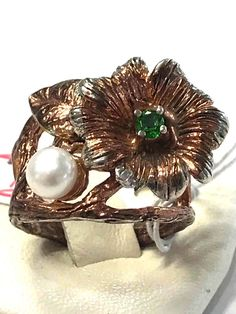 Unique Fineart Jewelry Natural Pearl Peridot  925 Sterling Silver Ring Sz 6.75