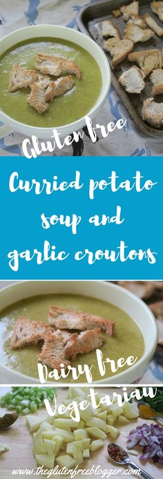 Gluten free soup recipe - curried potato soup and gluten free croutons - dairy free and vegetarian - www.theglutenfreeblogger.com