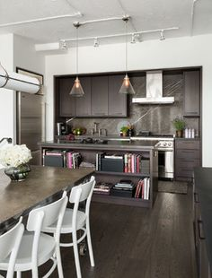 Transitional Kitchen by Croma Design Inc