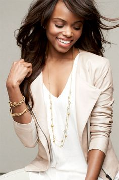 Very Olivia Pope:  Haley Necklace -- Wear it Long or Layered {Gold, Metal Nugget & Stone Necklace}