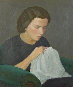 Veikko Vionoja (V. Laine): Puhdetyötä, 1938, öljy, 55x46 cm - Hagelstam A134