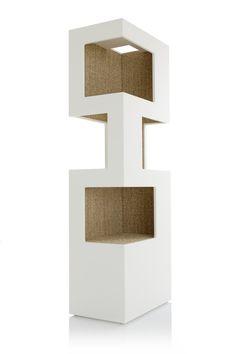 Onze kat toren is een modern meubilair voor mensen die houden van katten, maar ook moderne design. De torens zijn gemaakt van MDF-platen, bedekt met krasvaste coating op de achterzijde en 2 binnenkant en de platen met duurzaam sisal tapijt. Gestapelde openingen gelegen binnenkant van