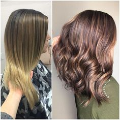 From a soft blonde ombré to a rich chocolate brown with balayage lowlights ✨