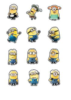 "Despicable Me Minions  Printable Party approx. 2"" height Cutouts for Cupcakes, Favors, Toppers, Stickers, Decorations"