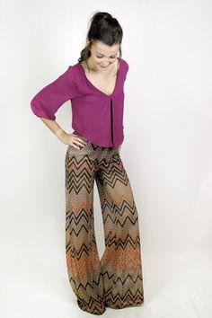Kari Zig Zag Print Wide Leg Pants
