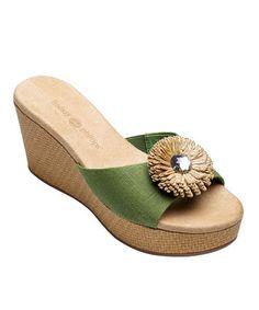 Look what I found on #zulily! Green Devon Wedge Slide #zulilyfinds