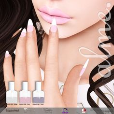 The Free Alme French HUD Gift. Here is a fantastic new group gift, ladies! The free French gift with white, pink and lilac polish. Add the HUD to choose