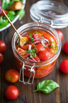 Marinated Cherry Tomatoes Recipe - Peas And Crayons Cherry Tomato Recipes, Cherry Tomato Salad, Pickled Cherry Tomatoes Recipe, Canning Cherry Tomatoes, Pickled Tomatoes, Canning Recipes, Salad Recipes, Healthy Recipes, Healthy Snacks