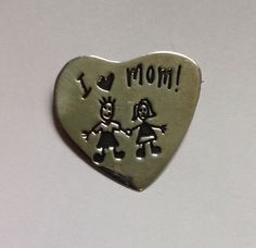 Sterling Silver I Love Mom Heart Shape Pin Boy GIrl EFS Save The Children Mexico #EFS
