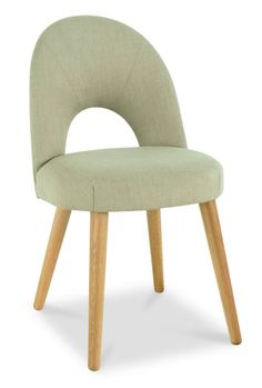 Stone Retro Danish Dining Chair - Modern Scandinavian Furniture Polyester fabric with oak legs, Some assembly required. 52 x 58 x