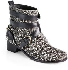 10 Crosby By Derek Lam  Coleen Calf Hair Ankle Boots