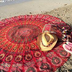Chiffon Bohemia Round Beach Towel Meditation Mandala Towel Square Rectangle Hippie Peacock Mandala Tapestry Wall Hanging 150cm
