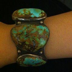 Rare Green Spiderweb Old Pawn Huge 3 Turquoises& Sterling Silver Cuff Bracelet #handmade #SterlingSilverBracelets