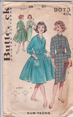 60s Shirtdress Slim Full Skirt Wide Belt Front Button Size 8 Bust 28 Vintage Sewing Pattern Butterick 9073 Complete