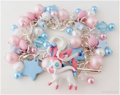 Hey, I found this really awesome Etsy listing at https://www.etsy.com/listing/162172447/pokemon-sylveon-bracelet-pastel-pink-and