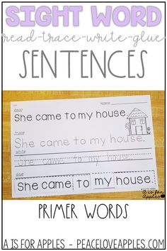 Read-Trace-Write-Glue Sentences for sight words