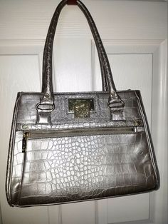 Beautiful Anne Klein purse in a silver alligator faux leather print. Polka dot lining with zipper closures. Back pocket as well so has lots of storage. Very stylish and in very good condition. It co mes from a smoke free home. | eBay!