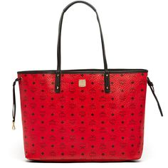 MCM Reversible Shopper Project Visetos ($760) ❤ liked on Polyvore featuring bags, handbags, tote bags, reversible tote bag, reversible tote, red purse, coated canvas tote and shopping bag