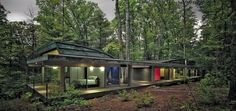Travis Price Architects have designed the Hayes Residence, a home located in Berkeley Springs, West Virginia. From the architect The home is a path Maison Farnsworth, Virginia Occidental, Berkeley Springs, Glass Facades, Forest House, Jungle House, Belleza Natural, Bungalows, House In The Woods