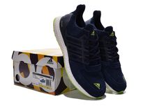 finest selection 3668a c2767 Adidas Ultra Boost Suede Navy Blue Volt Green Latest and Cheapest Shoe