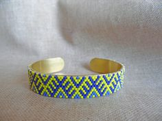 Your place to buy and sell all things handmade Woven Bracelets, Peyote Stitch, Adjustable Bracelet, Yellow, Blue, Glass Beads, Ethnic, Creations, Brass