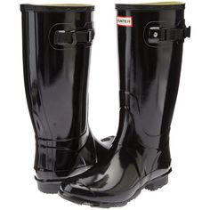 Hunter Huntress Gloss (Black Gloss) Women's Rain Boots ($100) ❤ liked on Polyvore featuring shoes, boots, black, black shiny boots, black rubber boots, black wellington boots, wellies boots and rain boots