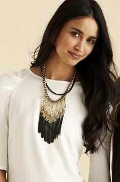 Mixed Steel & Brass Tribal Fringe Necklace | Lilith Fringe Necklace | Stella & Dot