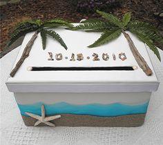 Beach SEASHELLS Wedding Card Money Box Monogram Seashore Sand Waves.