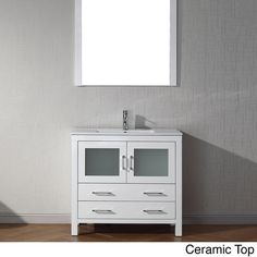 """Update your bathroom decor with a sleek and simple 36"""" Dior single sink vanity set in a clean white color that freshens up the look of your master, main or guest bathroom. The vanity set is constructe"""