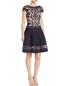 Tadashi Shoji Women's Illusion Lace Dress - Navy Petal - Size 12