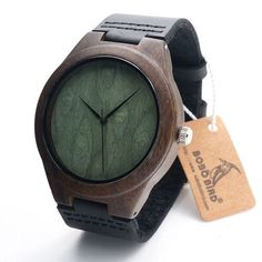 3748850bd69b80 Bamboo Wood Watch with Leather Band