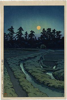 """""""Moon at Ayashi"""" by Hasui, Kawase"""