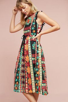 Eva Franco Saskia Embroidered Dress - Anthropologie - Colorful embroidery adorns this super-soft silhouette for a vibrant, flattering look we love. [affiliate]