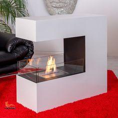 Bodenkamin BARI, Bio-Ethanol Kamin, freistehender Kaminofen, Stahlkorpus weiß Fireplace Lighting, Bioethanol Fireplace, Modern Fireplace, Fireplace Wall, Fireplace Design, Fireplaces, Bio Ethanol, See Through Fireplace, Electric Fireplace Tv Stand