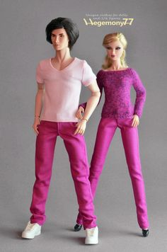 Color jeans pants with 4 pockets, front velcro closure and belt loops Fashion Royalty FR2 female dolls