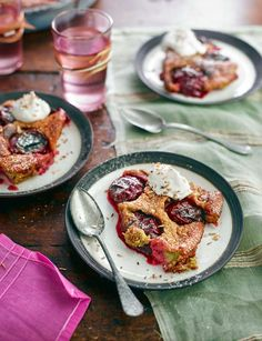 Plum and pistachio pudding with coconut and lime cream - Sainsbury's Magazine
